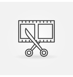 Film strip with scissors icon vector