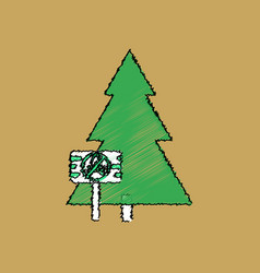 Flat shading style icon fir-tree with plaque vector