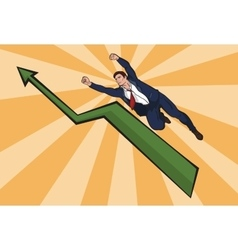 Flying up businessman The increase in business vector