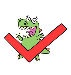 funny dinosaur and tick vector image