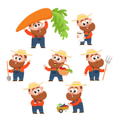 Funny farmer gardener character in different vector