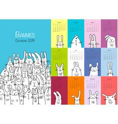 Funny rabbits design calendar 2019 vector
