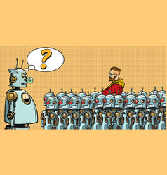 future the choice between robots and humans vector image