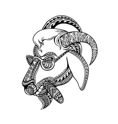 Goat cigar tribal tattoo style vector