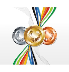 Gold silver bronze medals vector