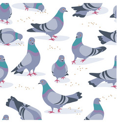 gray doves in motion seamless pattern vector image