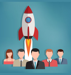 Group of business people with rocket behind them vector