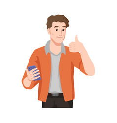 Guy likes smartphone shows approval thumb up sign vector