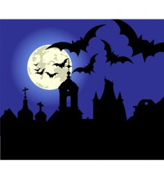 Halloween night in the town vector image