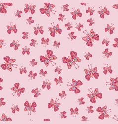 hand drawn butterfly pattern cute elegant design vector image