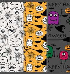 hand drawn with halloween pattern background set vector image