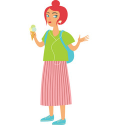Happy girl hipster eating ice cream vector