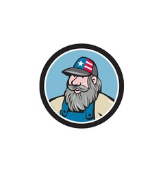 Hillbilly man beard circle cartoon vector