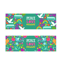 hippie peace symbol peace love reggae music vector image
