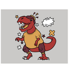 hipster t rex cartoon t shirt design vector image