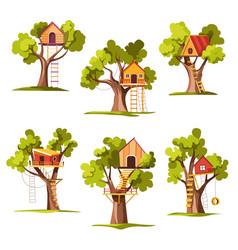 House on tree childish playground or backyard vector
