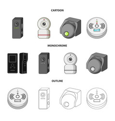 Isolated object of cctv and camera logo set of vector