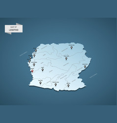 isometric 3d lesotho map concept vector image