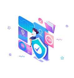Isometric concept girl installs online application vector