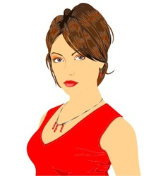 lady in red vector image