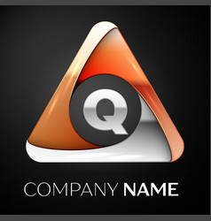 letter q logo symbol in the colorful triangle on vector image