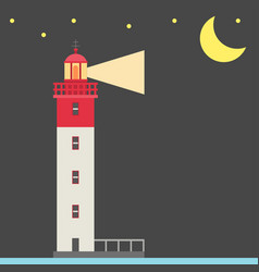lighthouse night background flat vector image