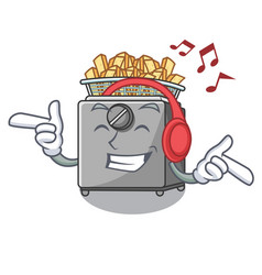 Listening music cooking french fries in deep fryer vector