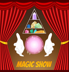 magic show poster template magician gloves vector image