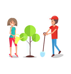 man and woman planting tree together poster vector image