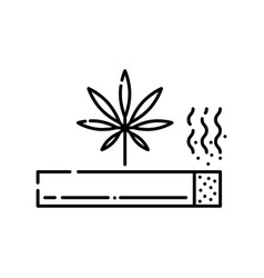 marijuana rolled cigarette with smoke line icon vector image