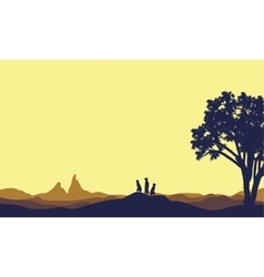 Meerkat at afternoon landscape silhouette vector image