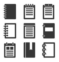 notebook icons set vector image