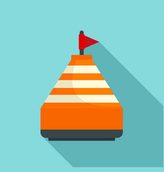 Orange buoy icon flat style vector