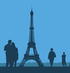 Paris The Eiffel Tower on a blue background vector image