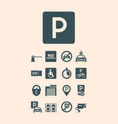 parking symbols paid money garage auto park cars vector image