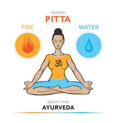 pitta dosha - ayurvedic physical constitution vector image