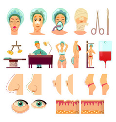 Plastic surgery orthogonal icons vector
