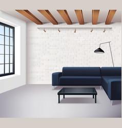 Realistic Loft Interior Concept vector image