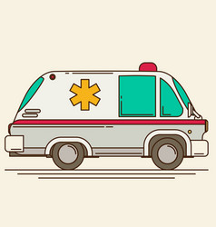 Retro ambulance car vector