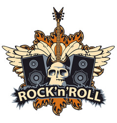 Rock and roll banner with skull speaker wings vector