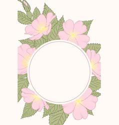 rosa canina wild rose wreath border frame template vector image