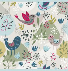 scandinavian folk art bird pattern design vector image