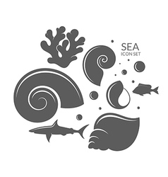 Sea Icon set Reef vector image
