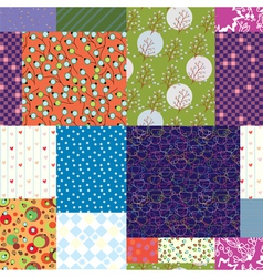 Seamless quilt pattern - floral fabrics vector