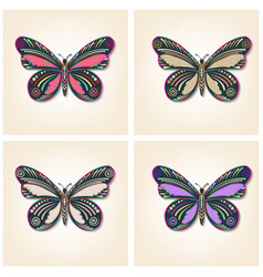 set of butterflies elegant insects vector image