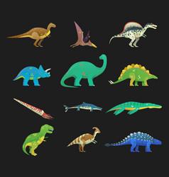 set of isolated cartoon dinosaur or dino vector image