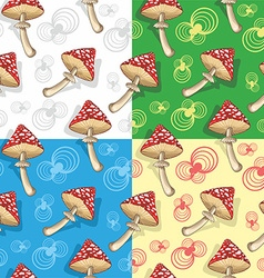 Set of toadstool mushrooms vector