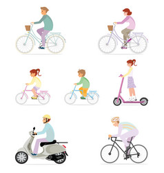 set people riding modern personal vector image