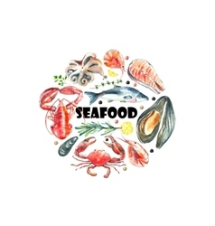 Set seafood watercolor vector