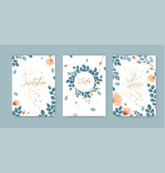 set simple cute cards with greens poppies vector image